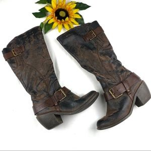 Sonoma Distressed Riding Buckle Pointed Toe Boots